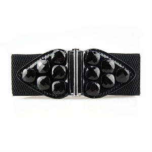 Lady Gemstone Waist Wide Elastic Belt Diamante Studs Features Around Belt