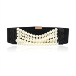 Lady Genuine Pearl Ornament Elastic Belt Features Lace Detail