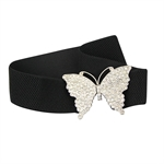 Lady Luxurious Diamante Butterfly Elastic Belt