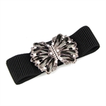 Lady Waist Wide Elastic Fashion Belt Features Diamond Flower Detail