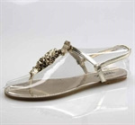 Customerized Women's & Girl's Metallic Leatherette Ruffle Slingback T-Strap Sandal, Thong Sandal