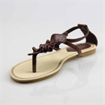 Customerized Women's & Girl's Leatherette Ruffle Slingback T-Strap Sandal, Thong Sandal