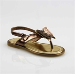 Customerized Toddler & Kid Leatherette Butterfly Slingback T-Strap Sandal, Thong Sandal