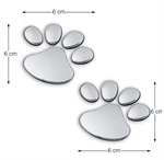 Dog Foot 3D Chrome Car Auto Badge Emblem