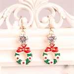 HÖTER Women Enamel Rhinestone Hook Dangle Earrings For Pierced Ears Gift(Wreath & Snowman & Sika Deer & Christmas Tree)4 PCS