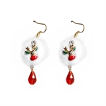 HÖTER Women Alloy White Pompon Christmas Santa Claus Hook Dangle Earrings For Pierced Ears Gift 2 Pcs/Set
