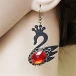 HÖTER Women Superior Leather Black Swan Crystal Halloween Christmas Hook Dangle Earrings For Pierced Ears Gift