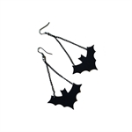 HÖTER Original Leather Bat Black Ancient Festival Hook Dangle Earrings For Pierced Ears Halloween accessories Gift