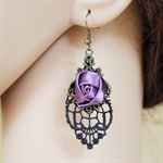 HÖTER Original Lace Purple Rose Vintage Ancient Festival Hook Dangle Earrings For Pierced Ears Halloween accessories Gift