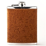 New Gift Idea! Printing Faux Leather with Stainless Steel Hip Flask, 8oz