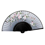 HOTER® Japanese Silk Handheld Folding Fan,Plum Blossom With Leaves