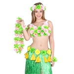 Wholesale Hawaiian Ruffled Multicolor Patriotic Flower Lei, Luau Party supplies
