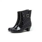 HOTER Latest Simple Fashionable Stylish Glitter Medium Heel Lady Rain Boots Skidproof/Waterproof Rainy Day/Outdoor Activities