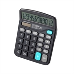 HOTER 12 Digits Standard Function Desktop Dual Power Solar Calculator, AA Battery, Daily Office Business, Gift, Black