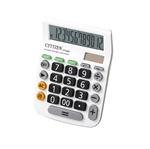 HOTER 12 Digits Standard Function Desktop Dual Power Solar Calculator, Button Battery, Daily Office Business, Gift, White