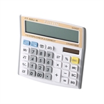 HOTER 12 Digits Standard Function Desktop Dual Power Solar Calculator, Button Battery, Daily Office Business, Gift, Golden