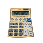 HOTER 12 Digits Standard Function Desktop Solar Calculator, Button Battery, Daily Office Business, Gift, Golden