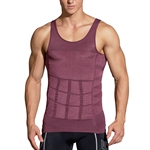 HOTER Mens Slimming Body Shaper Vest Shirt Abs Abdomen Slim, Purple