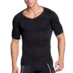 HOTER Mens Nylon Compression V-Neck T-shirt, Black