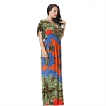 Hoter® Deep V-neck Sexy Low Cut Ice Silk Braces Skirt Floral Printing Holiday Maxi dress