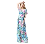 Hoter® Summer New Ice Silk V-neck Floral Printing Refreshing Style Holiday and Vocation Maxi Dress
