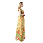 Hoter® Plus Sizes New Chiffon Ladyfied V-neck Floral Printing Short Sleeve Vacation And Beach Maxi Dress