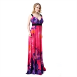 Hoter® Summer Round Neck Beach And Vacation Floor-length Maxi Dress Plus Size Ice Silk Braces Dress