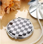 HOLI® Black and White Plaid Round Mirror Cosmetic Mirror Compact Mirror, Gift Idea, Gift Box Included
