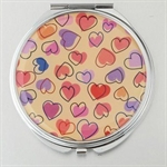 HOLI® Colorful Heart Round Mirror Cosmetic Mirror Compact Mirror, Gift Idea, Gift Box Included