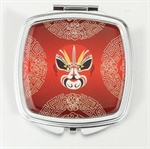 HOLI® Chinoiserie Red Theatrical Mask Square Mirror Cosmetic Mirror Compact Mirror, Gift Idea, Gift Box Included