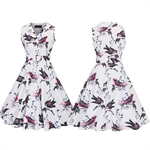HÖTER Women Vintage Hepburn Style Print Single Breasted Lapel Sleeveless Cocktail Swing Dress