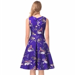 HÖTER Women Classy Vintage Retro Hepburn Style Sleeveless Cocktail Printing Swing Dress