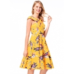 HÖTER Women Vintage Retro Hepburn Style Cap Sleeve Cocktail Printing Swing Dress With Belt