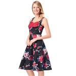HÖTER Women Vintage Retro Hepburn Style Print Sleeveless A-Line Vest Cocktail Swing Dress