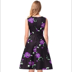 HÖTER Women Vintage Hepburn Style Sleeveless Print Floral A-Line Cocktail Swing Dress With Belt