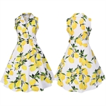 HÖTER Women Vintage Hepburn Style Sleeveless Turnover Collar Print Floral Large Swing Dress
