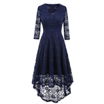 HOTER Women's V-Neck Advanced Elegant Vintage Floral Irregular Lace Swing Bridesmaid Cocktail Party Long Dress