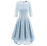 HOTER Women's V-Neck Advanced Elegant Vintage Floral Irregular Lace Swing Bridesmaid Cocktail Party Formal Dress