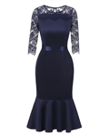 HOTER Vintage Floral Lace Cocktail Party Spliced Hollow Package Hip Skirt Gauze Fishtail Dress