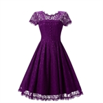 HOTER Women's Elegant Retro Lace Floral A-Line Swing Bridesmaid Cocktail Party Formal Dress