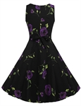HOTER Women's Retro Hepburn Style Floral Printed Cocktail Party Petti Skirt Tutu Dress