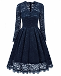 HOTER Women's Elegant Retro Superior Lace V-Line Swing Bridesmaid Cocktail Party Formal Plus Size Dress
