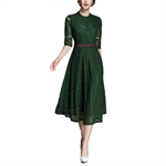HOTER Women's Autumn Europe Western Elegant Retro Superior Lace Bridesmaid Cocktail Party Formal Dress
