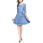 HOTER Women's Western Elegant Stylish Superior Blue Lace Bridesmaid Cocktail Party Formal A-Line Dress