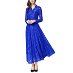 HOTER Women's Europe Western Elegant Stylish Retro Superior Lace Bridesmaid Cocktail Party Formal Long Dress