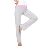 Womens Soft Elastic Waistband Fitness Yoga Long Pants, Pink+Light Grey, Yoga & Pilates, Price/Piece
