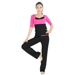 Womens Soft Fashion Two-piece Yoga Fitness Set, Three-quarter sleeved top & Long Pants, Price/Set